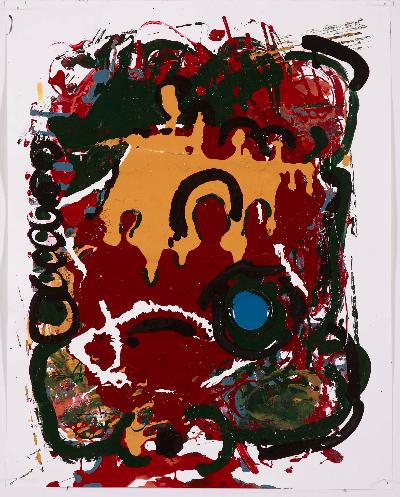 "blaupunk 2007    paint on paper 20""x30"""