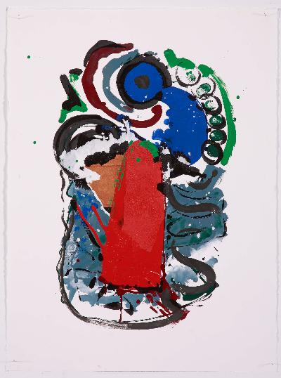 """blue vomit 2007     paint on paper 20""""x30"""""""
