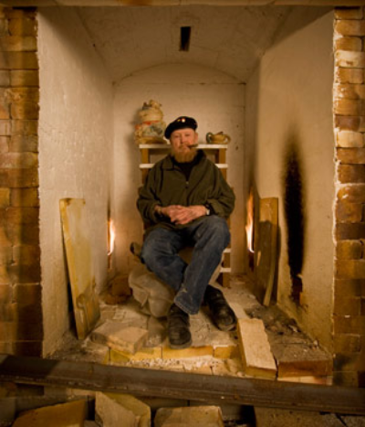 jim in one of his kilns 2008    Photography: © 2008 Nick Vedros
