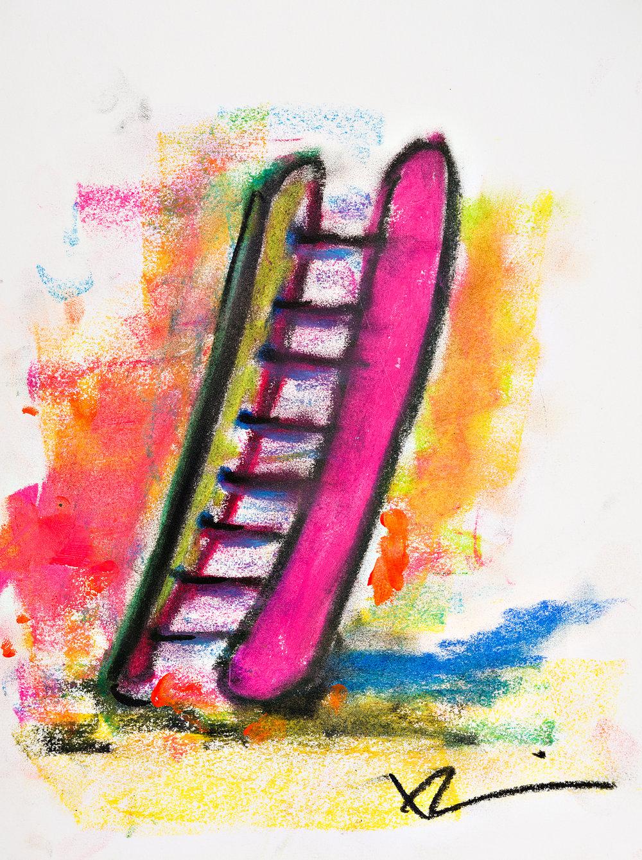 "Hotdog 9""x12"" oil crayon"