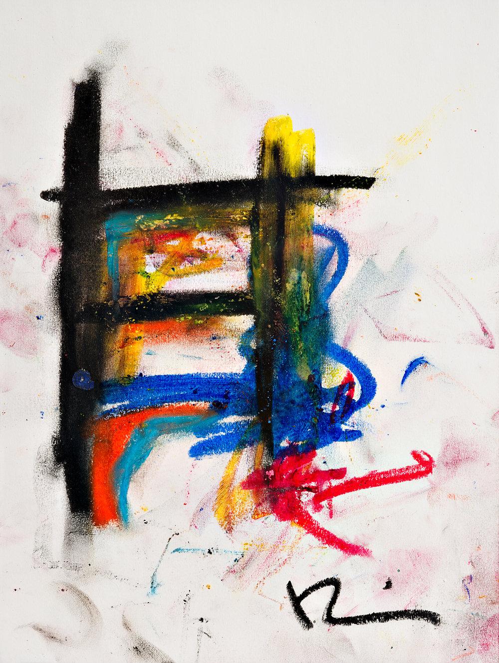 "Fluidity 9""x12"" oil crayon"