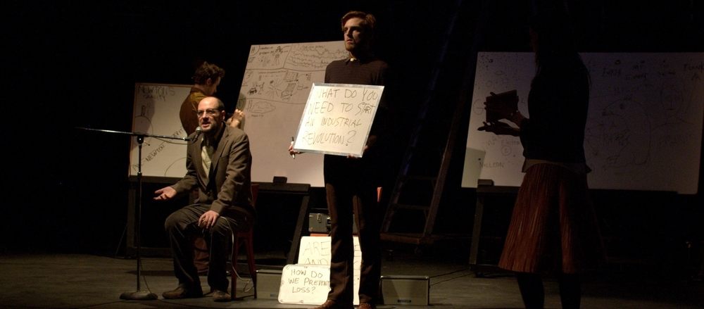 Jacob addresses questions with help from Frank Cox-O'Connell in Dedicated to the Revolutions (2009)