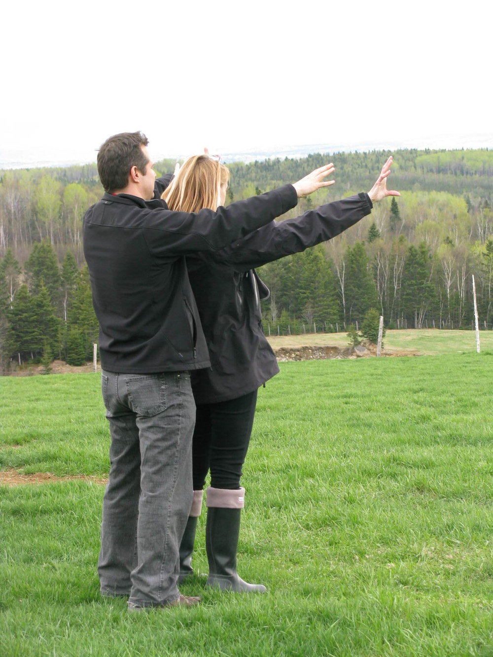 With director Emile Gaudreault envisioning the siteof the Farmsite build of the House, Barn , roads landscaping etc. on the vastsite in Baie Saint Paul, Qc. This was the start.