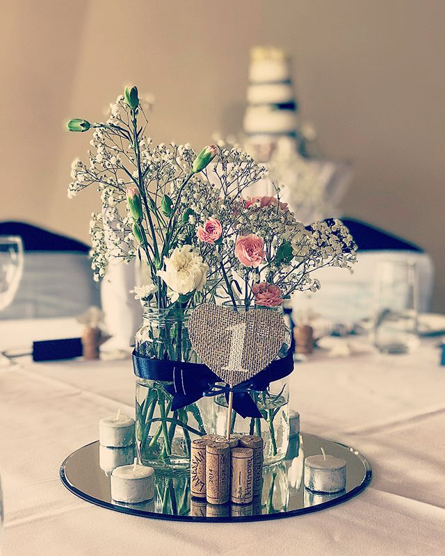 Beautiful centrepieces at today's wedding!