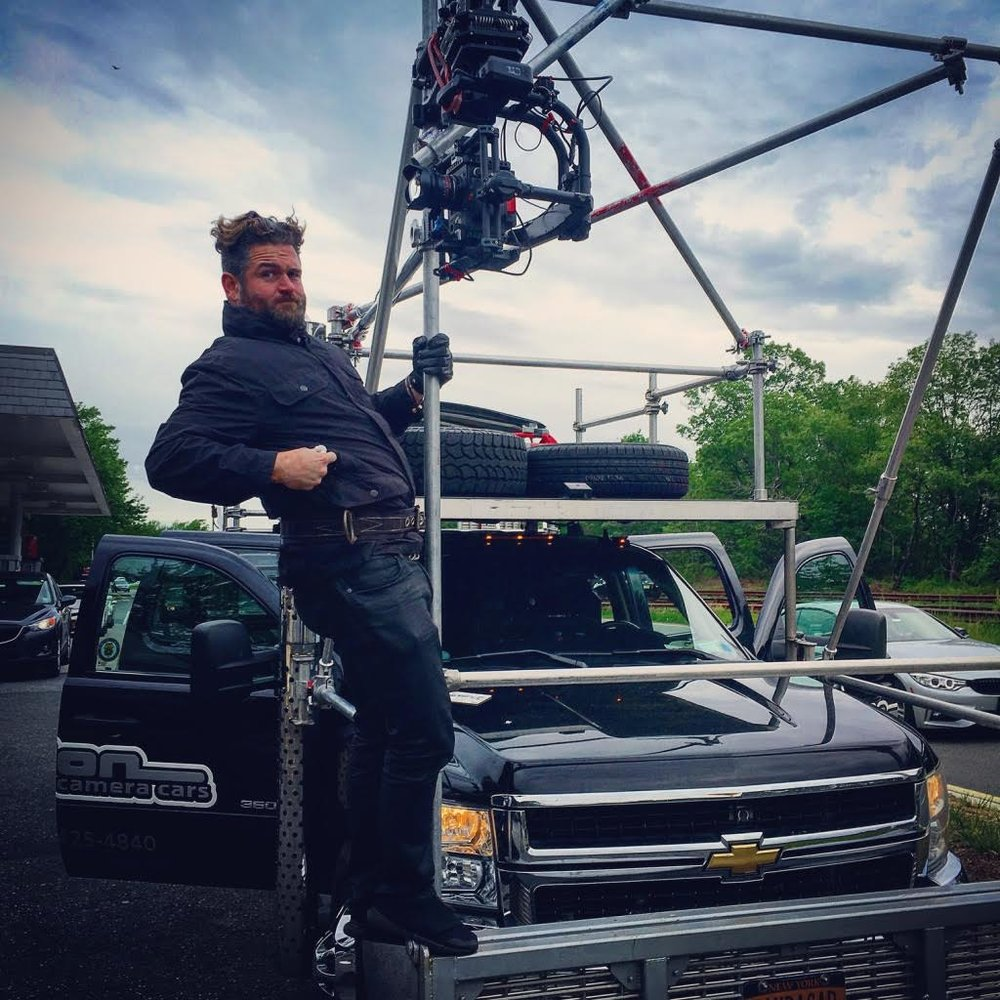 One of our operators, Drew Suppa, demonstrates the stability of our rig used to shoot plates for THE COMMUTER.