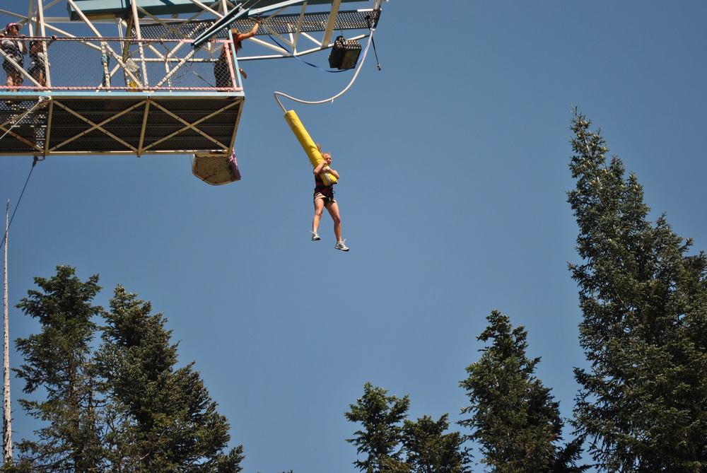 Chlo jumps off the bungee tower at Mt. Hood Adventure Park in Oregon