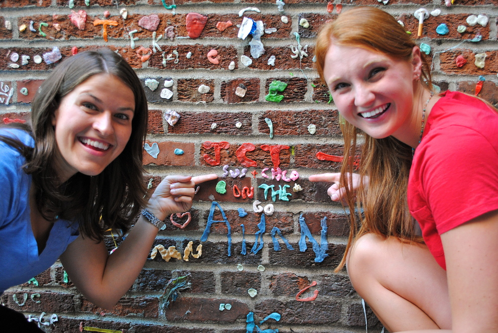 Adding to the Gum Wall in Seattle, WA