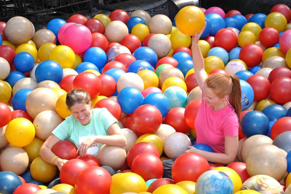 Playing in the ball pit at City Museum in St. Louis, MO