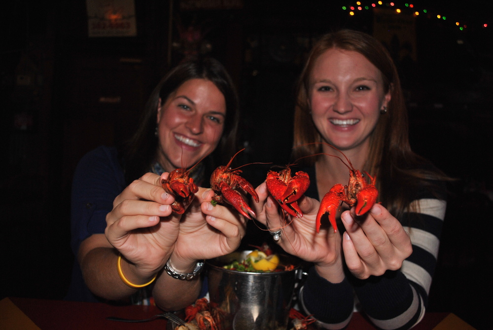 Eating crawfish at the Broadway Oyster Bar in St. Louis, MO