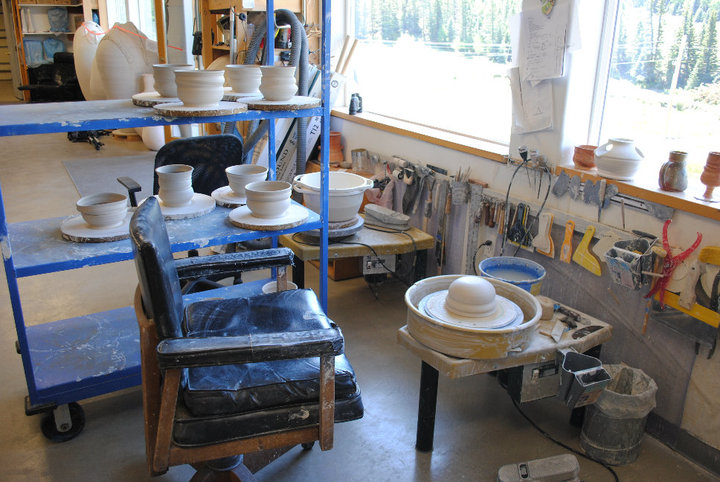 Potters wheel in Enchanted Circle Pottery's studio