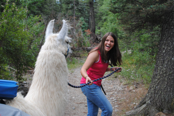 Sus hiking with her llama, K2