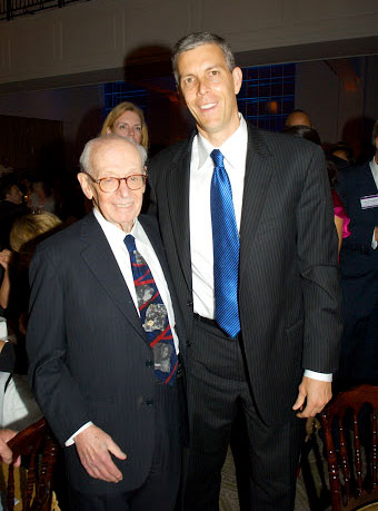 "Eugene Lang with U.S. Secretary of Education, and former ""I Have A Dream"" Sponsor Arne Duncan"