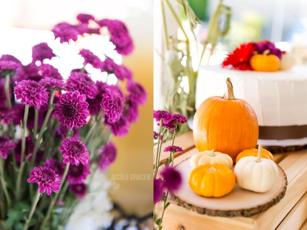 Fall themed party decor