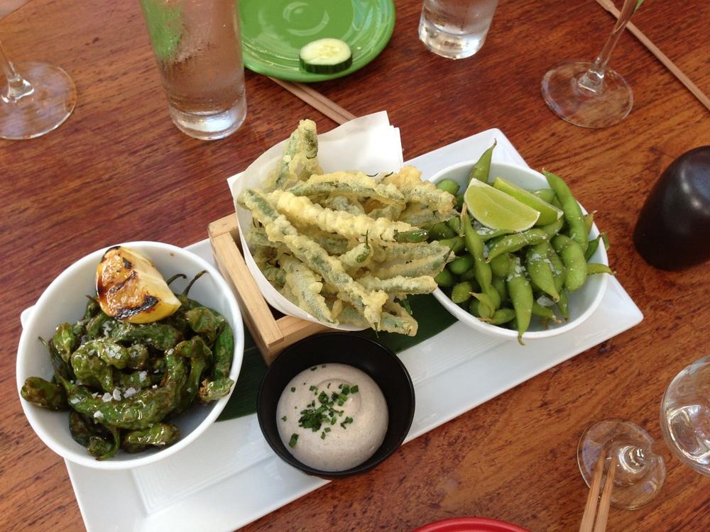 Edemame, Green Bean Tempura, Peppers