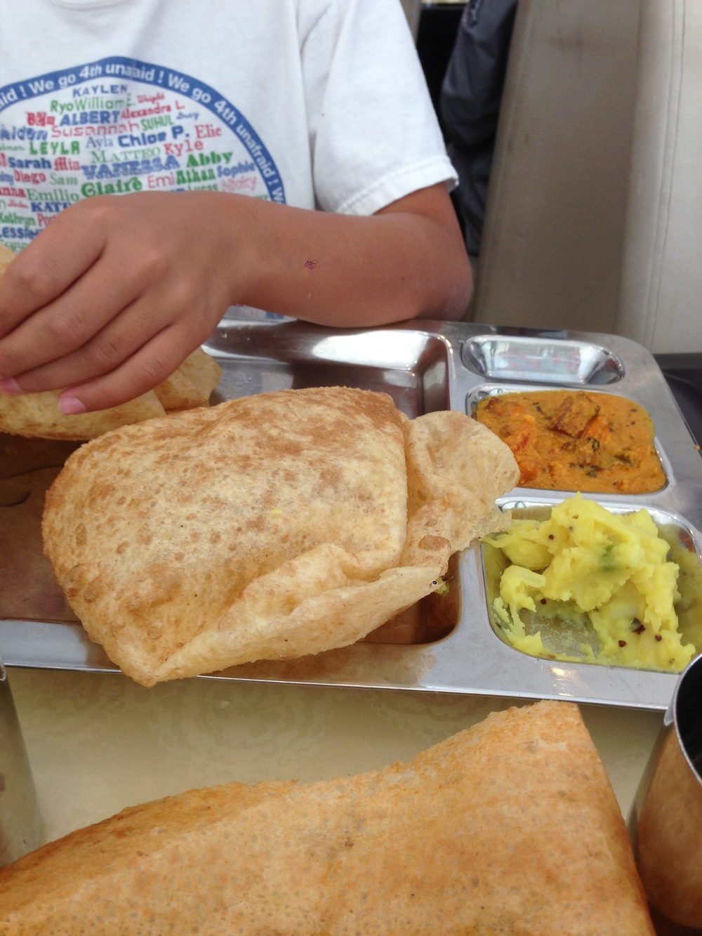 Poori with Mashed Potatoes and Paneer