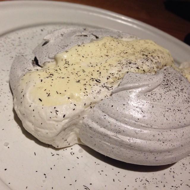 Husk meringue with corn mousse (photo credit to my parents here...😬) at #cosme #cosmenyc #eeeeeats #meringue #corn #dessert