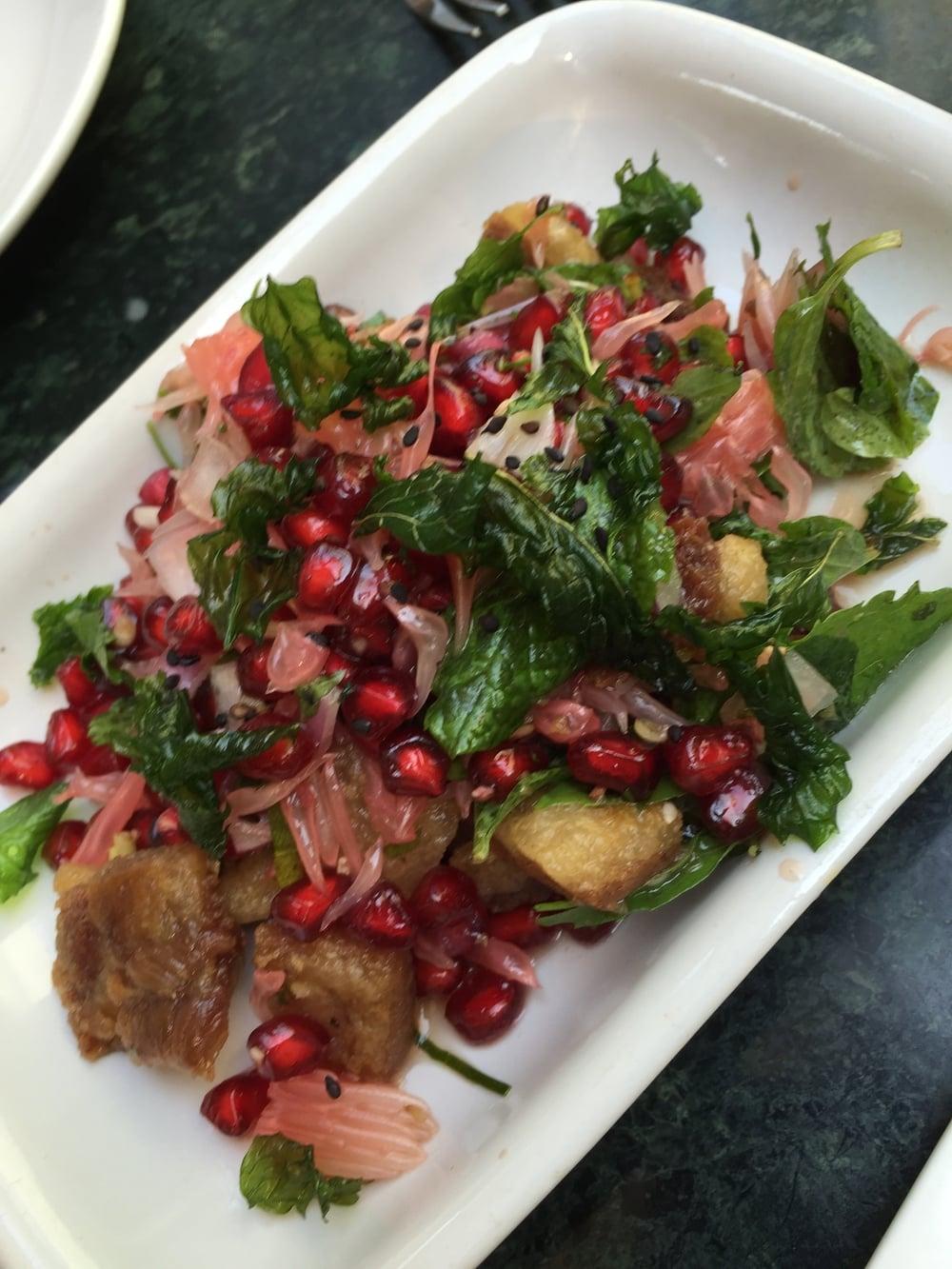 Crispy pork and pomegranate salad