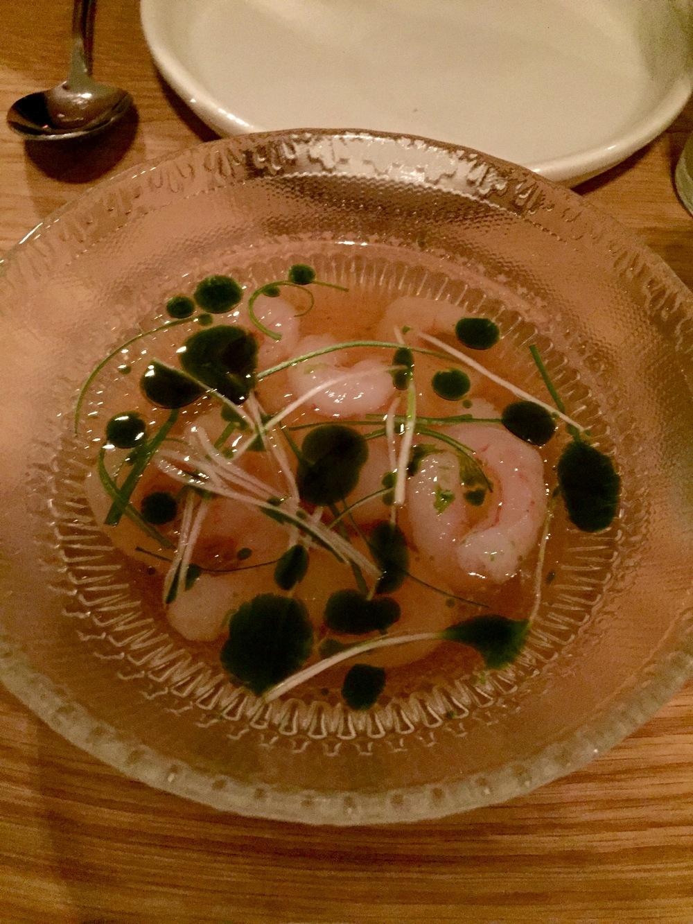Sweet shrimp in ponzu with basil oil