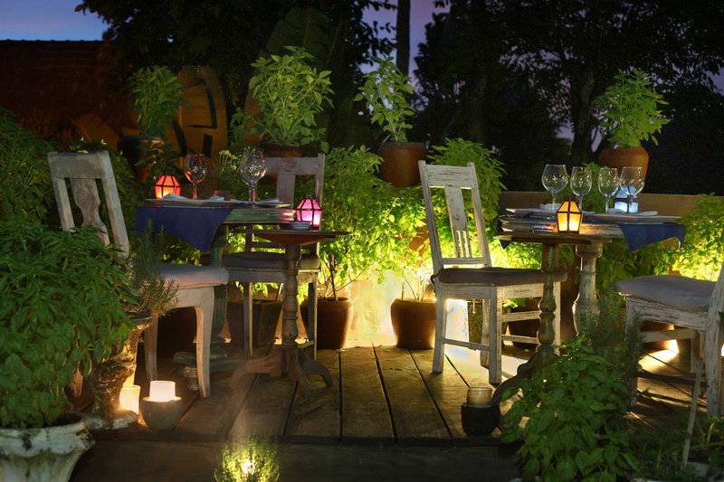Al fresco dining on the romantic rooftop terrace