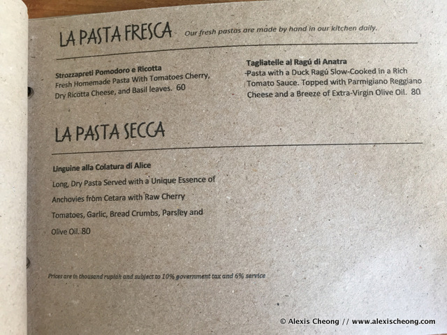Basilico, Bottega Italiana lunch menu