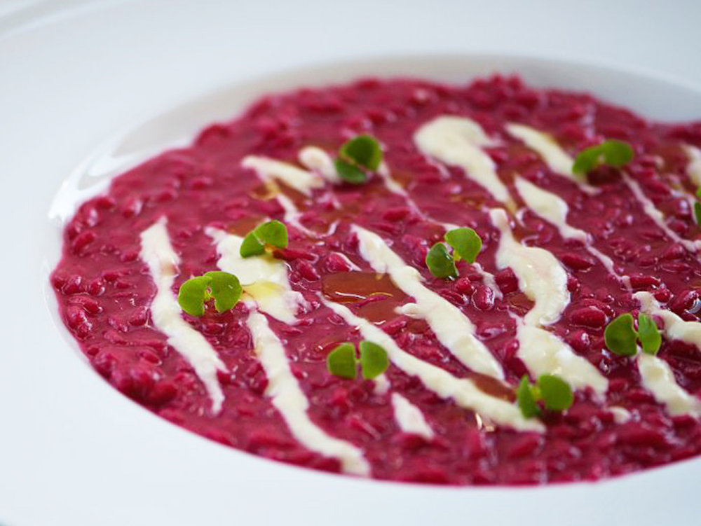 Risotto Rapa Rossa, a delicious beetroot risotto served with parmesan cream.