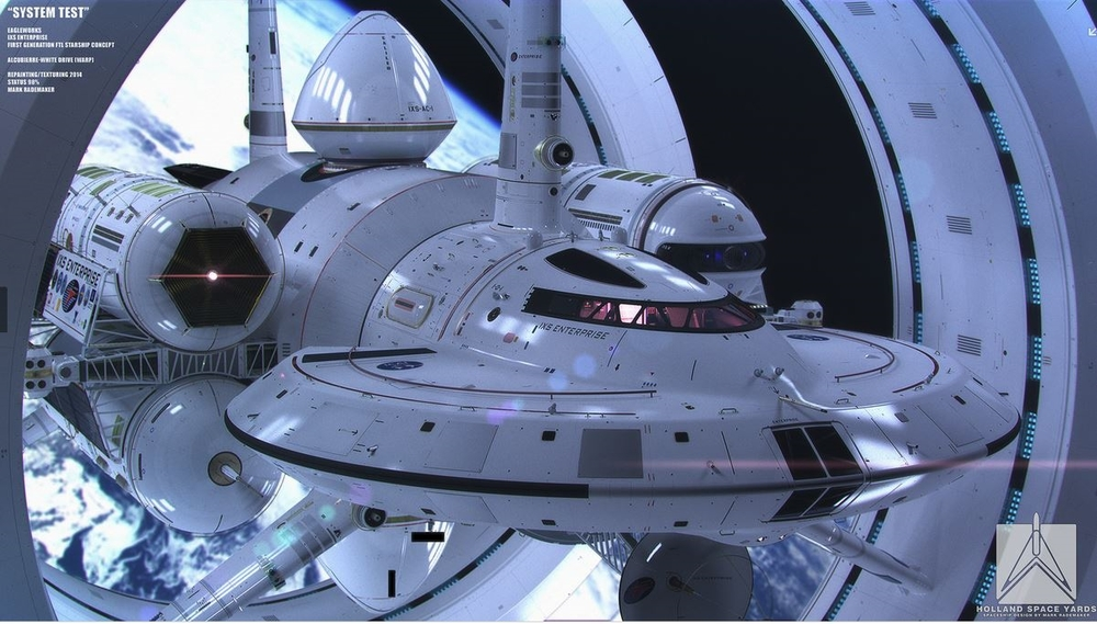 "Warp drive powered spacecraft - ""artist's impression"""