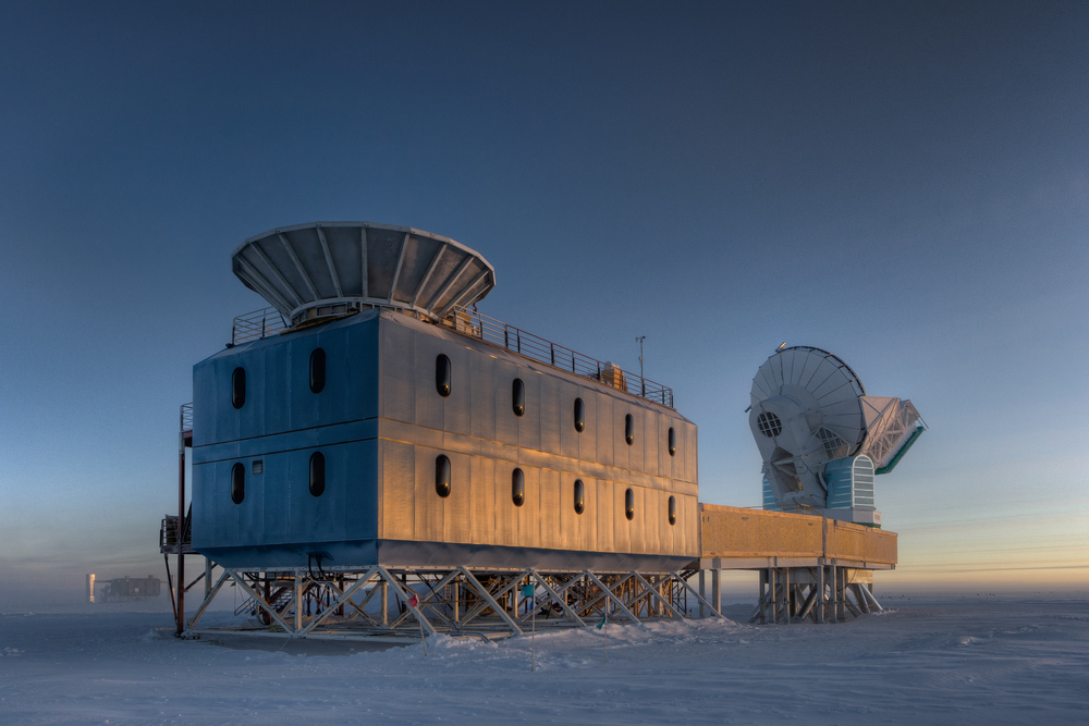 The Dark Sector Laboratory, South Pole. The BICEP2 telescope is housed in the structure closest to the camera.