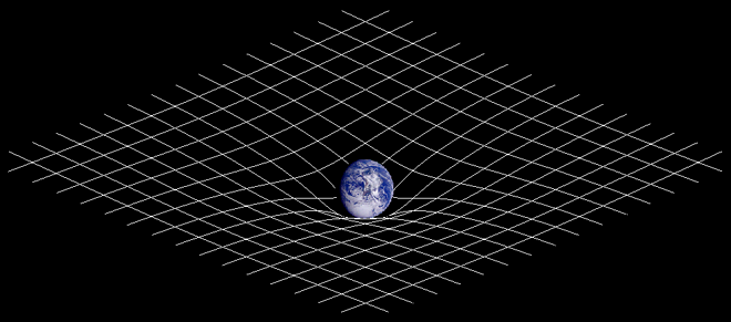 Gravitational fields are encoded in the curvature of space CC BY-SA 3.0