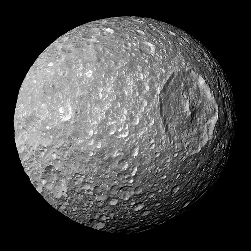 Saturn's moon Mimas, with the impact crater Herschel.