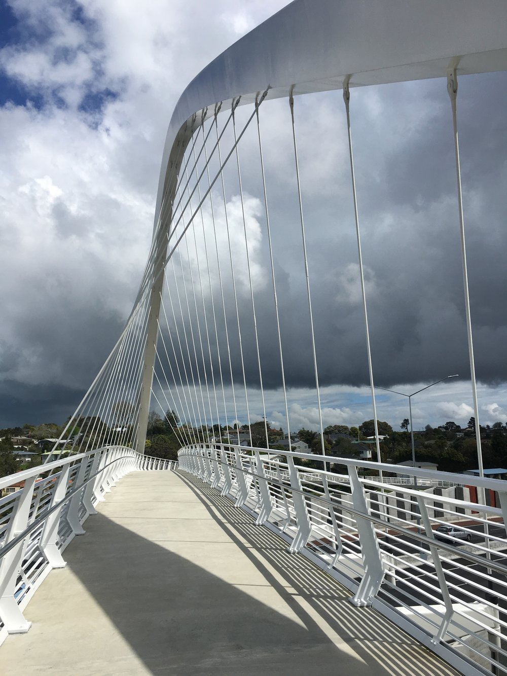 Te Whitinga Bridge across SH 20; south of the Waterview Tunnel.