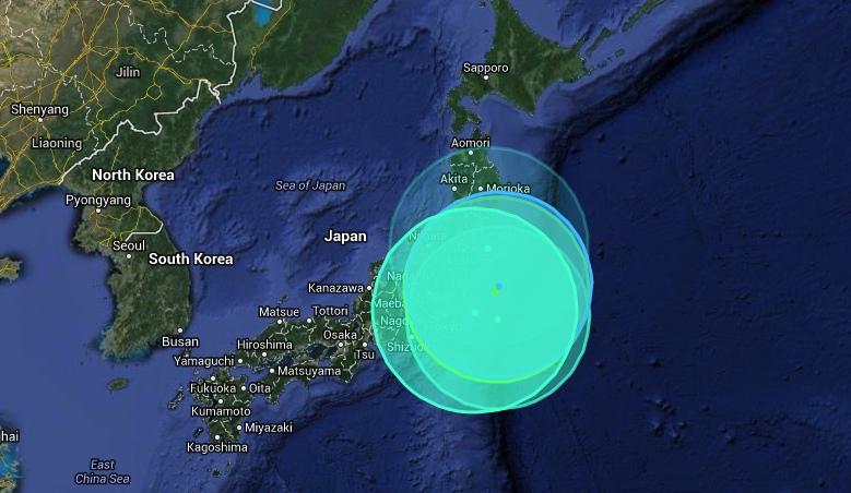 Här får ni en animerad bild av hur det skakade i Japan i mars 2011.