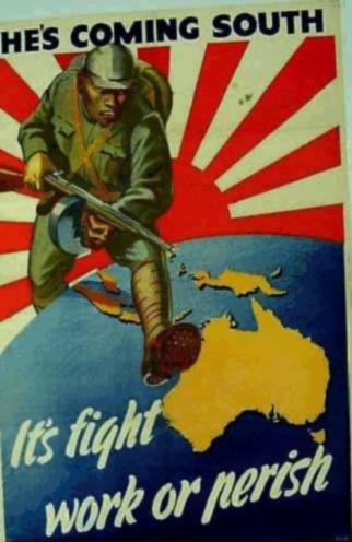 Australiensisk anti-japansk affisch från andra världskriget. Ni förstår kanske varför den gamla militära flaggan fortfarande är en laddad symbol.