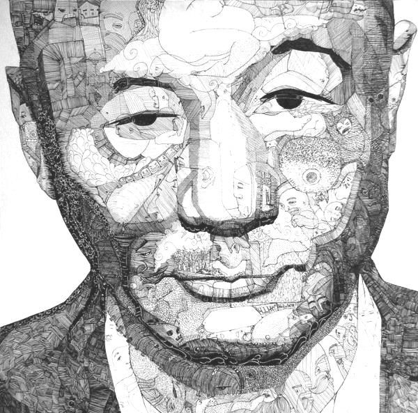 "Japanske regissören Takeshi Kitano i en underbar ""bilder i bilden""-teckning av Jason Sho Green."