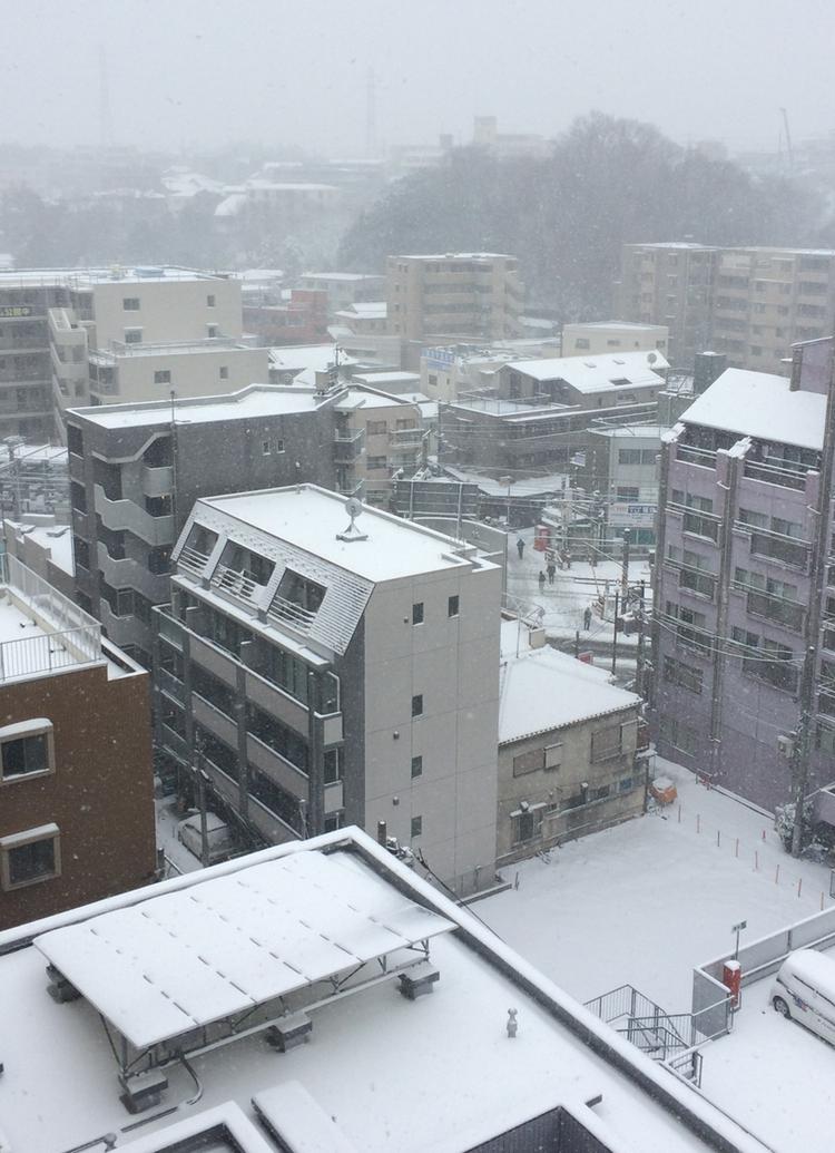 Så här ser det ut genom fönstret vid min arbetsplats i skrivande stund... Sällsynt vitt för att vara nära Tokyobukten.