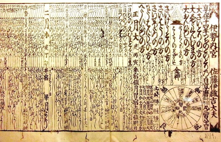 Japansk kalender från 1729.