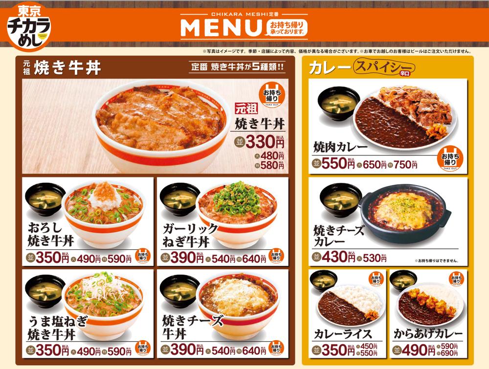 En del av menyn på Tokyo Chikara-meshi, en snabbmatskedja som jag tror skulle slå Sverige med häpnad om den någonsin etablerade sig i vårt land!