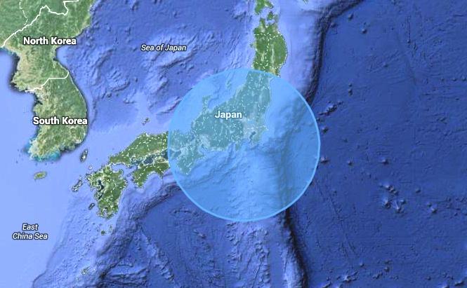 Här ser ni vidden av det område där morgonens 6,2:a kändes i Japan. Inga skador och ingen tsunami.