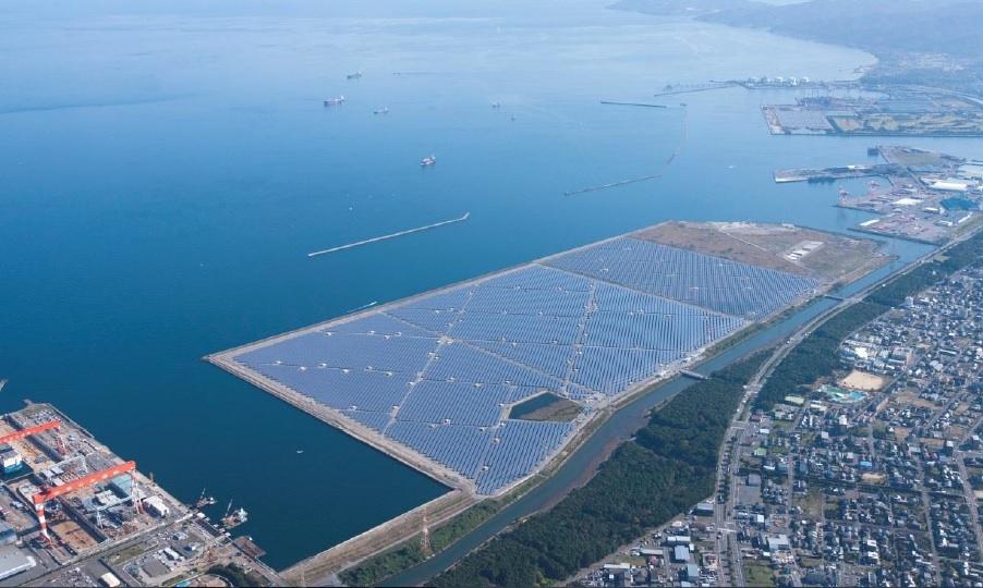 Storföretaget Marubeni står bakom Japans största solenergipark som nu är klar för start nere i Oita på Kyushu. Foto: Marubeni