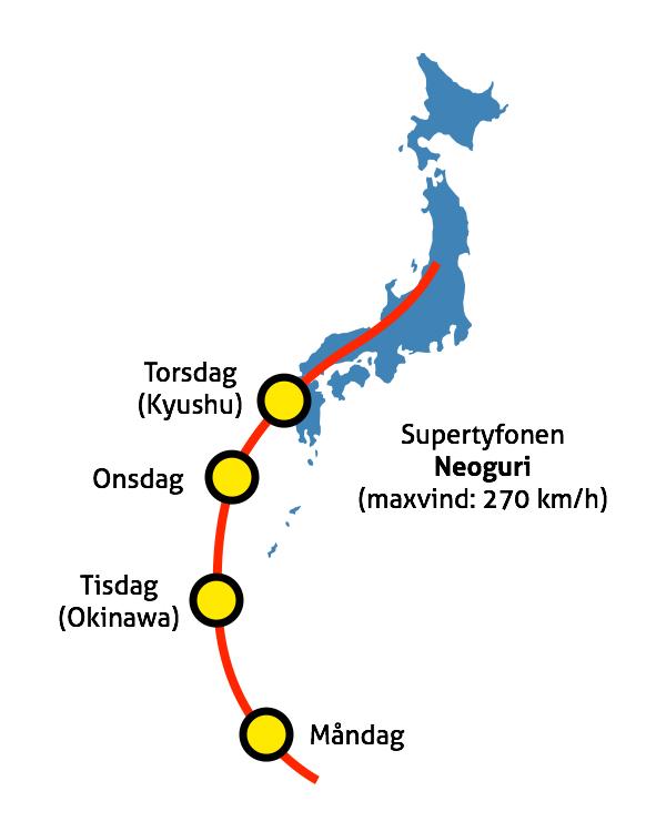 Så här ser sträckningen ut för den inkommande tyfonen för närvarande.