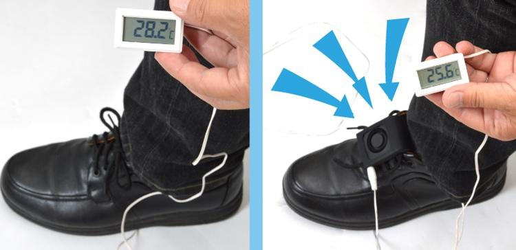 Det måste erkännas att det funnits somrar i Japan då man önskat sig en friskluftsfläkt inne i skorna.. Nu är den verklighet.