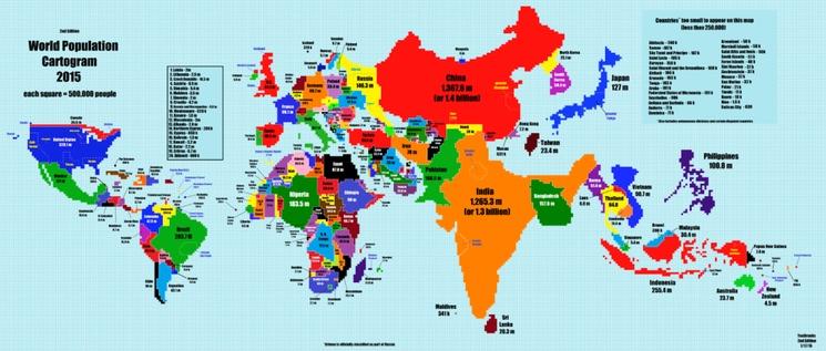 Så här ser världen ut om ländernas storlek görs proportionell till folkmängden.  Full storlek på kartan här.