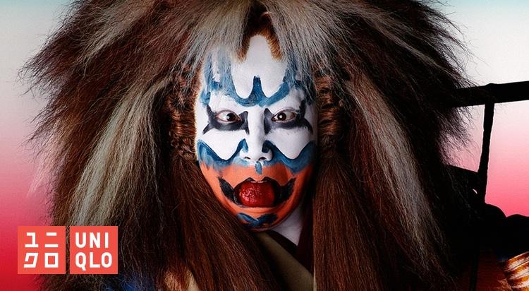 Sminkningen i kabukiteatern är inte buskablyg - det ska synas även på sista raden vad det är för figur som agerar på scenen.  Foto: UNIQLO