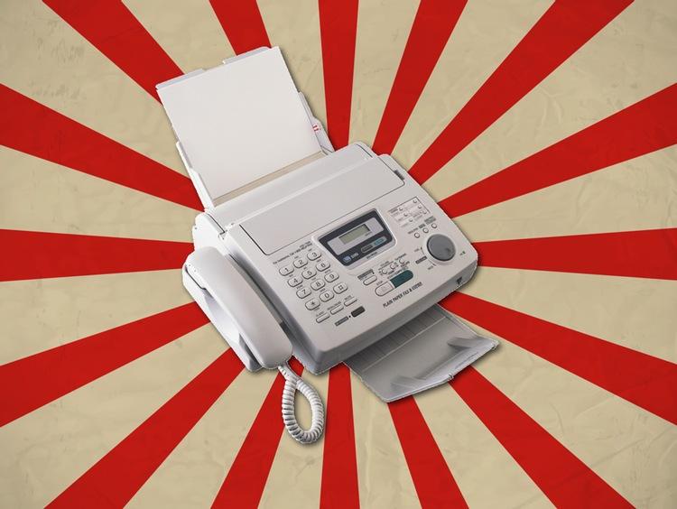 Faxmaskinen är fortfarande mera vanlig än ovanlig i det i vissa stycken fortfarande väldigt analoga Japan.  Grafik: KOYA Co., Ltd