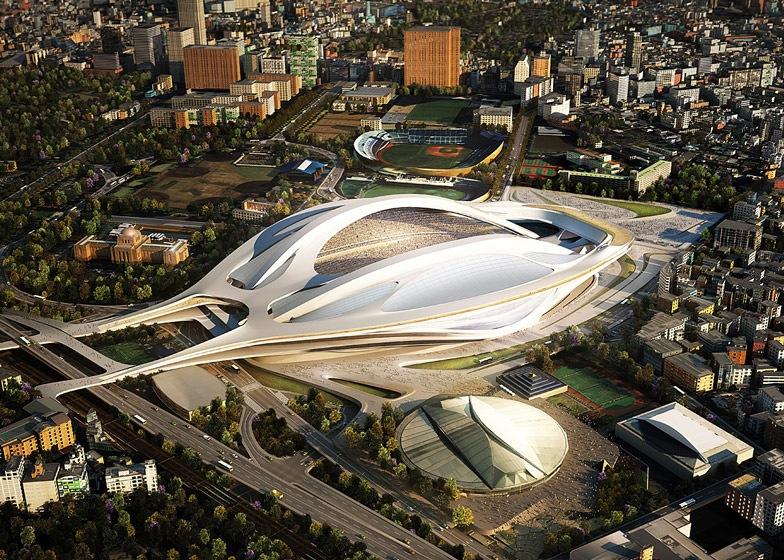 Den planerade OS-stadion i Tokyo blev alltför dyr, så denna design är nu skrinlagd. Nu gäller det att ganska så raskt hitta en ny form så att man hinner få det hela klart före 2020! Foto: Zaha Hadid Architects