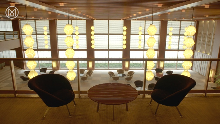 En estetisk tidsresa i Hotel Okuras lobby.