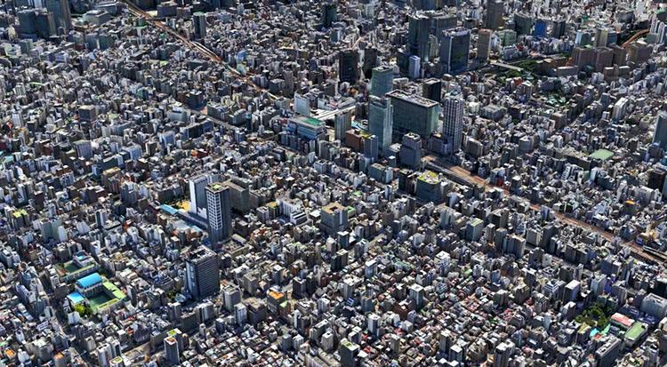 En liten, liten del av centrala Tokyo... Bilden är en 3D-rendering i Apple Maps med svensk teknik ursprungligen utvecklad inom SAAB.