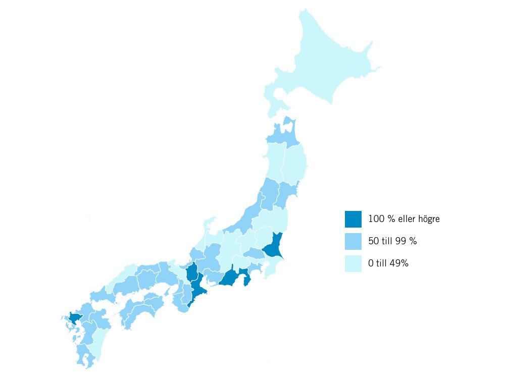 Kartan visar den procentuella ökningen av övernattningar med utländska turister för de enskilda prefekturerna mellan 2014 och 2015. Klicka för större bild (ett förlåt till Okinawa som inte kom med på bilden - Japans tropiska ö har också fått större mängd utländska turister).  Källa: Japan Tourism Agency.