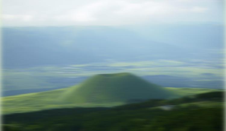 Mount Aso-området nära det mest jordbävningsdrabbade området nere på Kyushu. Skakig bild. Foto: Public Domain