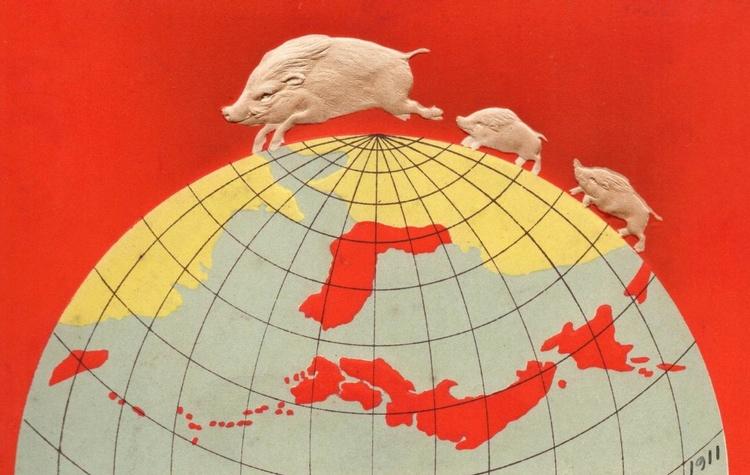 Detta nyårskort från 1911 (Vildsvinets År) visar hur Japan såg på sig själva som nation. Man hade vunnit Rysk-japanska Kriget sex år tidigare och man hade precis annekterat Korea. Södra Sakhalin var också japanskt. Japanska riket verkar ta upp nästan halva planeten. Storhetsvansinne är bara förnamnet.