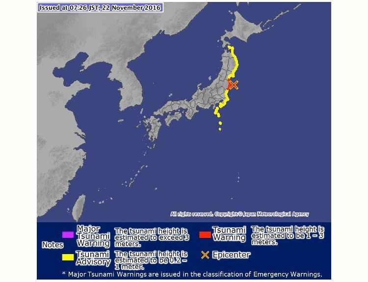 Krysset visar epicentrum för morgonens jordbävning, och den gula färgen indikerar de områden som hade tsunamivarning under några timmar. Inga större vågor rapporterades, dock.  Bild: Japan Meteorological Service